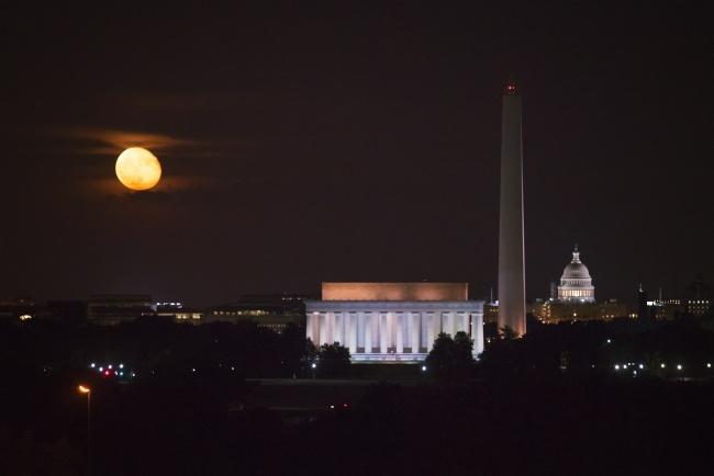 netherlands carillon, iwo jima memorial, washington dc, view, skyline, washington monument, lincoln memorial, us capitol, moon, full moon, harvest moon, october, night, sky,