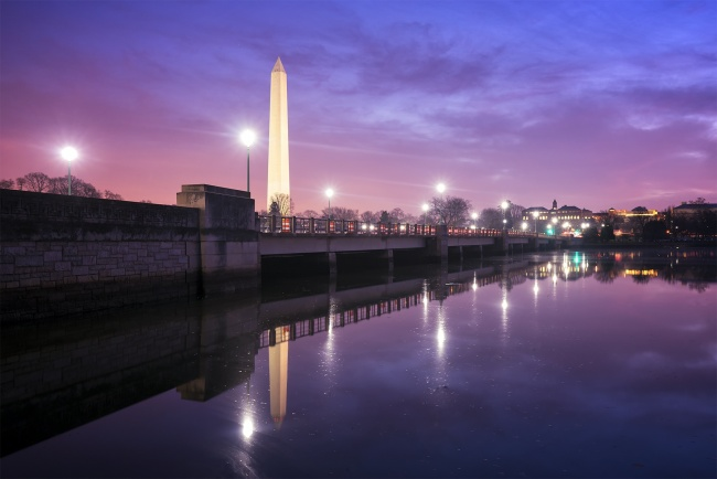 kutz bridge, tidal basin, sunrise, washington monument, reflection, pink, purple, washington dc, capital, street light, bridge, traffic, early morning