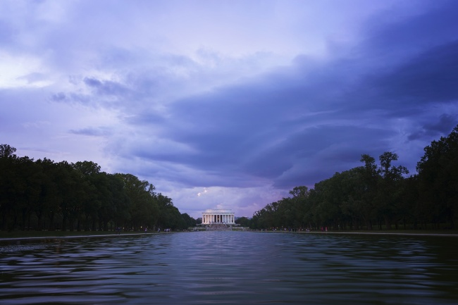 lincoln memorial, washington dc, storm, clouds, weather, reflecting pool, blue, visit, travel, nations capitol, national mall