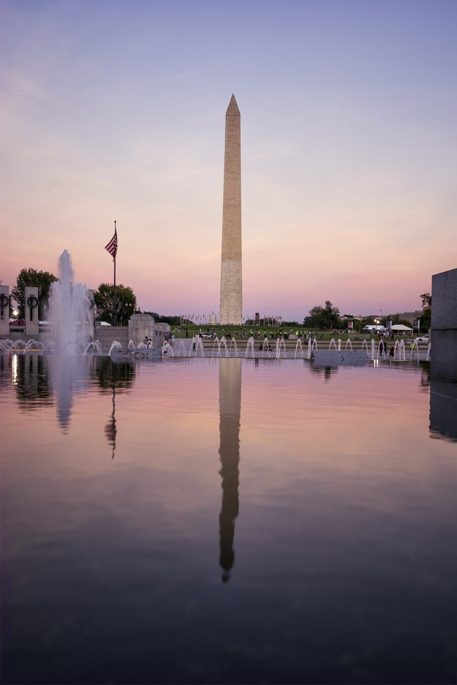 Washington monument, wwii memorial, washington dc, sunset, reflection, fountains, national mall, nps, sky, clear, visit, travel, usa, capital, memorial