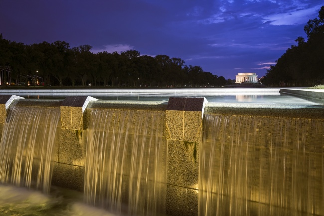 wwii, memorial, national world war ii memorial, fountains, reflection, lincoln memorial, dc, nw, washington dc, sunset, evening, national mall,