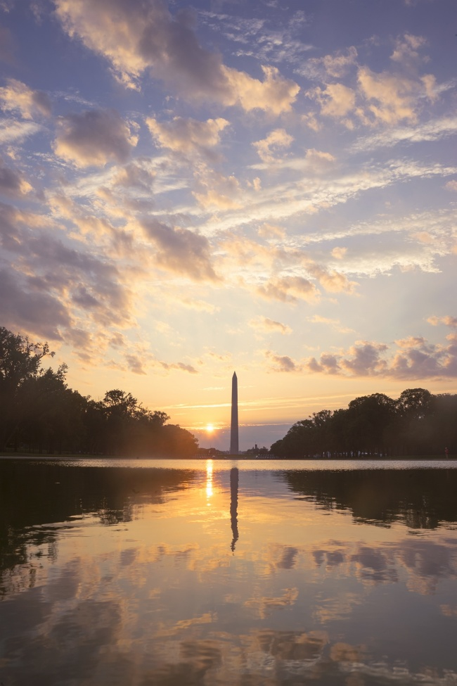sunrise, washington monument, washington dc, clouds, reflection, #neverforget, 9/11, reflecting pool, lincoln memorial, washington dc, trust for the national mall, nw