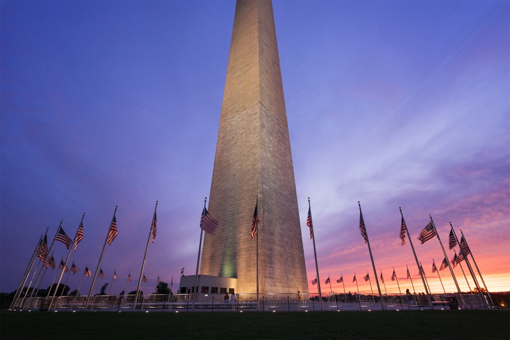 washington monument, washington dc, sunset, evening, summer, american flags, nw, national park, national mall,