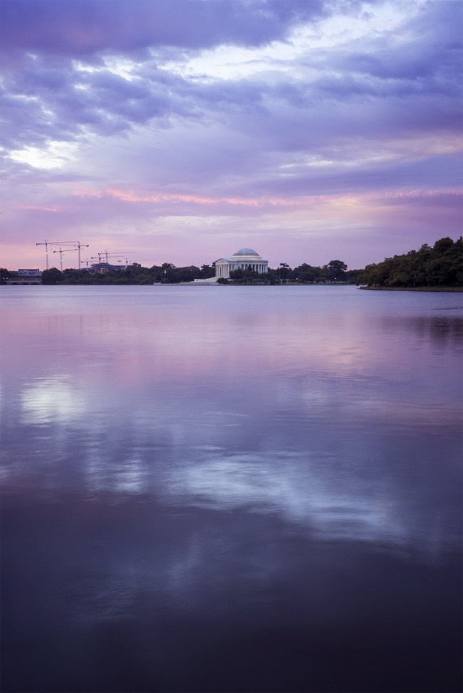 thomas jefferson memorial, washington dc, tidal basin, sunrise, potomac river, jefferson memorial, reflection, purple, calm, peace, early morning, martin luther king jr
