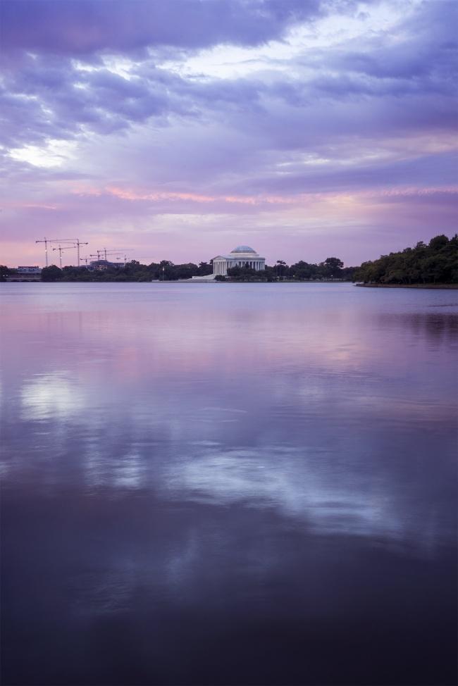 thomas jefferson memorial, washington dc, tidal basin, sunrise, potomac river, jefferson memorial, reflection, purple, calm, peace, early morning, martin luther king jr