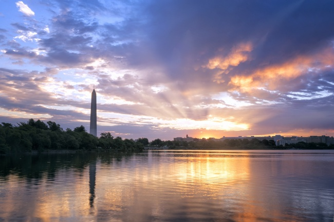 washington monument, tidal basin, potomac river, sunrise, jefferson memorial, washington dc, early morning, clouds, travel visit, reflection, purple, blue, orange,