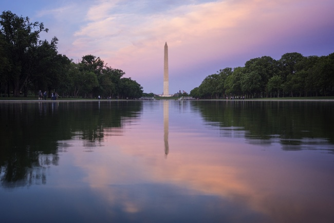 washington monument, reflecting pool, lincoln memorial, washington dc, united states, sunrise, east coast, america, capital, trees, national parks, national mall,