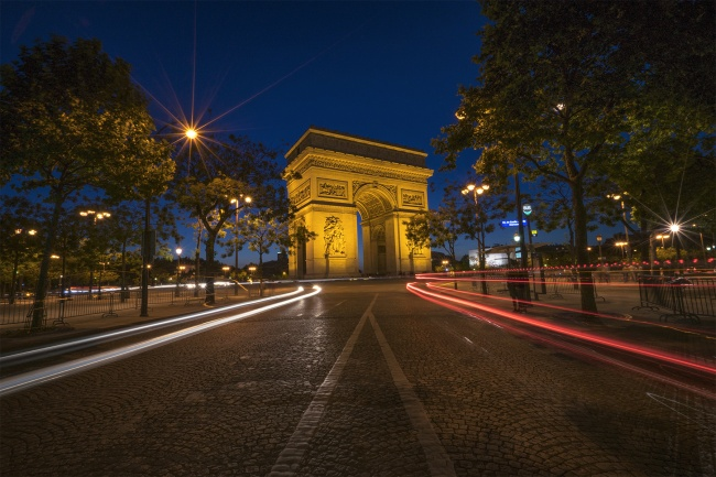 arc de triomphe paris, france, car trails, lights, night, france, europe, visit, travel, Place Charles de Gaulle, Champs-Élysées