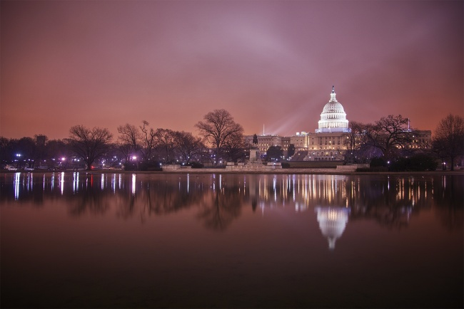 us capitol, washington dc, fog, evening, rain, wether, lights, architecture, reflection, reflecting pool, sunset, national mall, visitor center, congress, government building