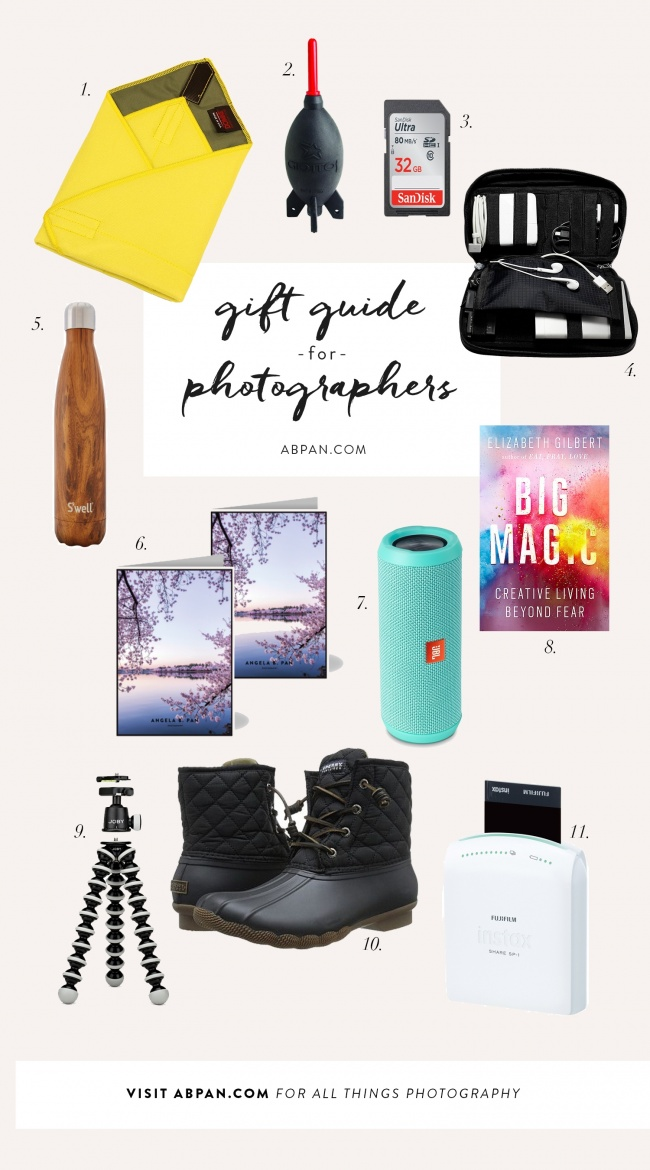 gift guide, photographers, photography, domke, rocket, blaster, organizer, organize, photo, cords, big magic, sd cards, moo cards, personalized, jbl speaker, gorillapod, sperry, boots, rain, fuij, printer, polaroid
