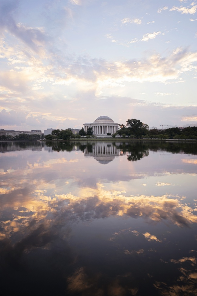 jefferson memorial, washignton dc, sunrise, tidal basin, clouds, east coast, thomas jefferson, potomac, national mall, visit, monuments, memorials, history