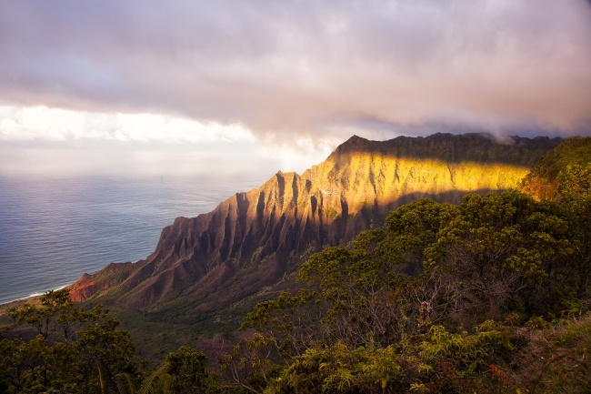 kauai, hawaii, napali coast, hike, aloha, hawaii, Nā Pali Coast State Park, green, sunset, clouds, ocean, pacific
