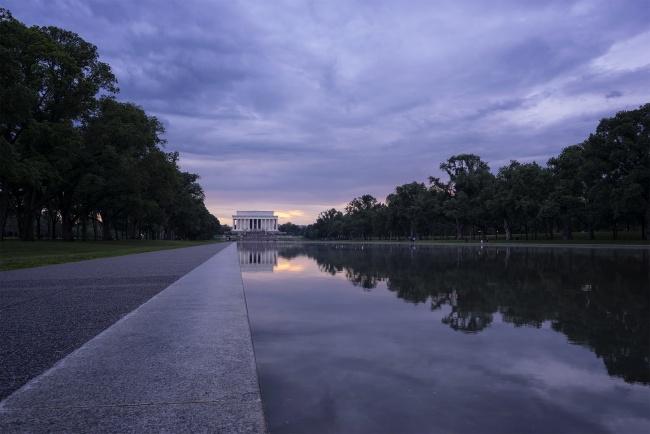 lincoln memorial, reflecting pool, washington dc, east coast, america, usa, history, sunset, travel, visit, purple, blue, abraham lincoln,
