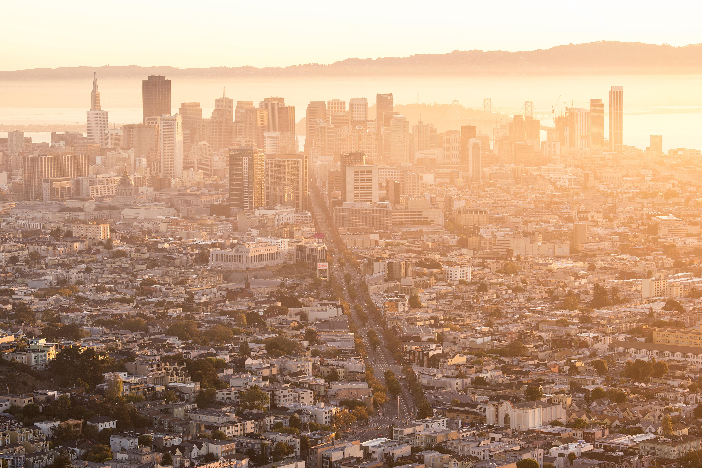 twin peaks, san francisco, california, cali, san fran, mount davidson, sunrise, early morning, orange, glow, best view, city view, twin peaks boulevard, golden gate bridge, buildings, architecture,
