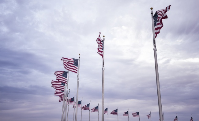 american flags, washington monument, washington dc, 50 flags, america, united states, clouds,