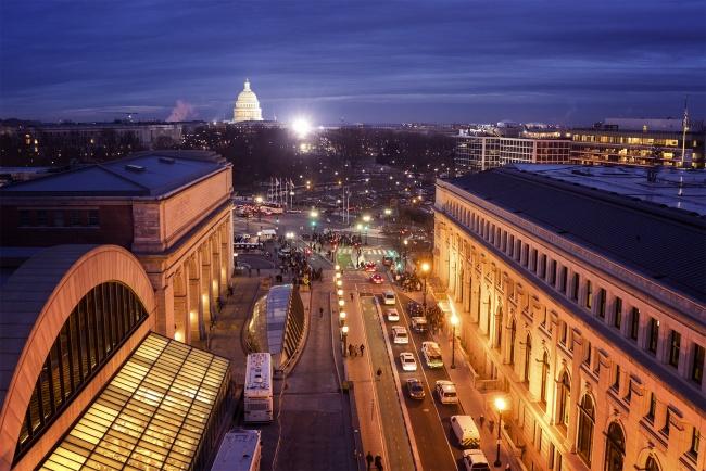 inauguration, sunrise, us capitol, blue, union station, 2017, president elect, donald trump, washington dc, early morning, morning of, government, politics, protest,