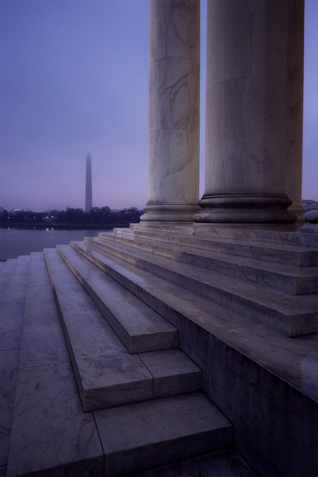 jefferson memorial, washington monument, steps, side view, abpan, angela pan, washington dc, early morning, dawn, sunrise, fog, weather, columns, architecture