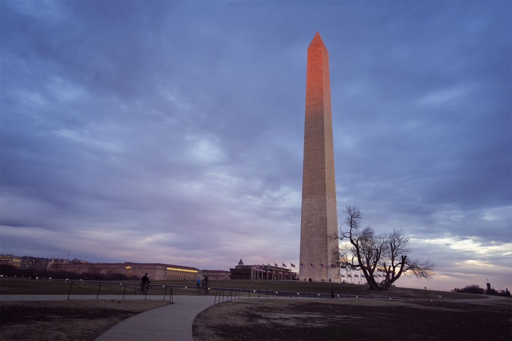 washington monument, national mall, washington dc, george washington, obelisk, national park service, sunset, glow, red,