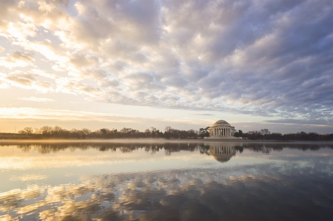 washington dc, jefferson memorial, clouds, tidal basin, sunrise, early morning, reflection, national mall, national park service, presidential memorial, thomas jefferson, memorial,