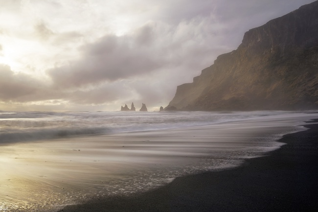 black sand beach, reynisfjara, vik, iceland, travel, europe, western europe, nordic, socks, waterproof, waves, how to dress, cold, beach,