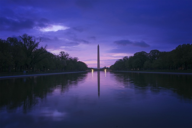 sunrise, washington dc, lincoln memorial, washington monument, reflecting pool, dawn, east coast, nation's capital, reflection, trees, national mall, purple, blue, sky, sleep, college, photography, cityscape