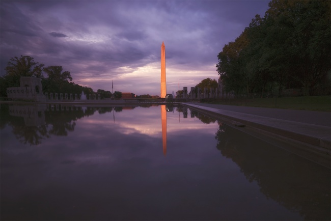 washington monument, washington dc, capital, wwii memorial, world war ii memorial, reflecting pool, nmaahc, national museum of african american history and culture, reflection, sunset, glow, neutral density, filter, camera settings, focus, manual, contrast