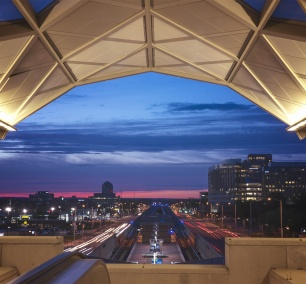 virginia, northern virginia, nova, sunset, greensboro, metro station, route 7, rt 7, mclean, night, silver line, metro, train, tysons corner, transit, cars, wendy's,
