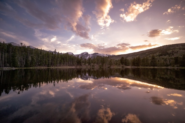colorado, co, visit, travel, rocky mountain national park, antonios pizza, estes park, sunset, dinner, pizza, hike, trail, lake, sprague, tripod, camera settings, neutral density, nd, filter, tripod, reflection, mountains