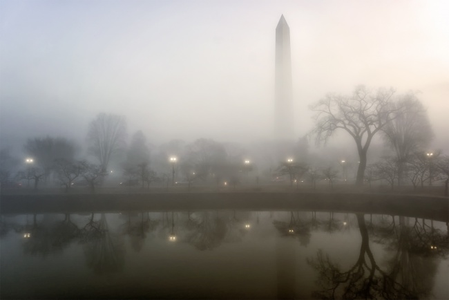 fog, washington monument, kutz bridge, tidal basin, washington dc, reflection, early morning, sunrise, foggy, trees, street lights, traffic, car, landscape, cityscape, east coast,
