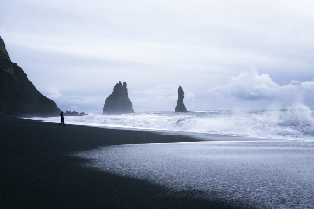iceland, vik, south iceland, black sand beach, sea stacks, birds, waves, water, cold, europe, travel, blue, mood, rocks, nordic, island, viking,