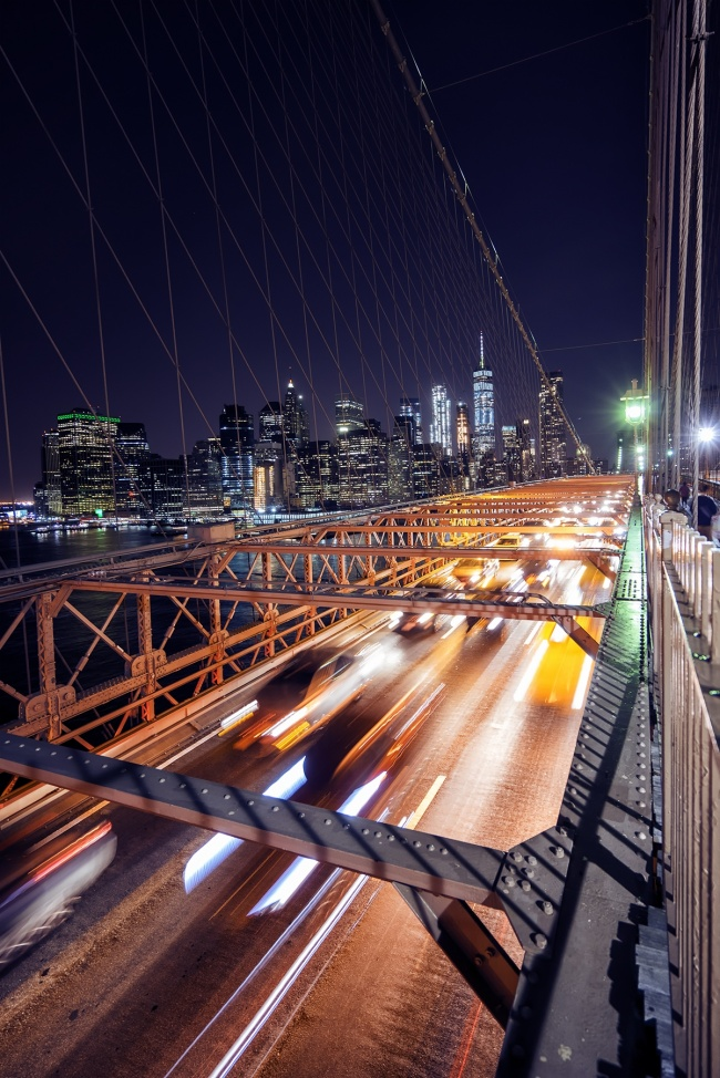 brooklyn bridge, night, long exposure, manhattan, brooklyn bridge park, new york, vacation, getaway, visit, travel, tour, taxis, walk across the bridge, great views, must do, must visit, must see, architecture, skyline
