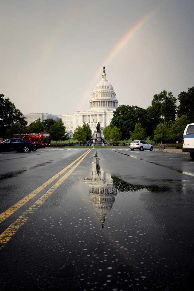 hop on, hop off bus, tour bus, washington dc, us capitol, rain, storm, weather, summer storm, double rainbow, puddle, reflection street, architecture, government