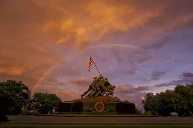 iwo jima, marine corp memorial, united states marine corps, arlington, virginia, va, memorial, united states, storm, clouds, rainbow, contrast, weather, rain, summer,