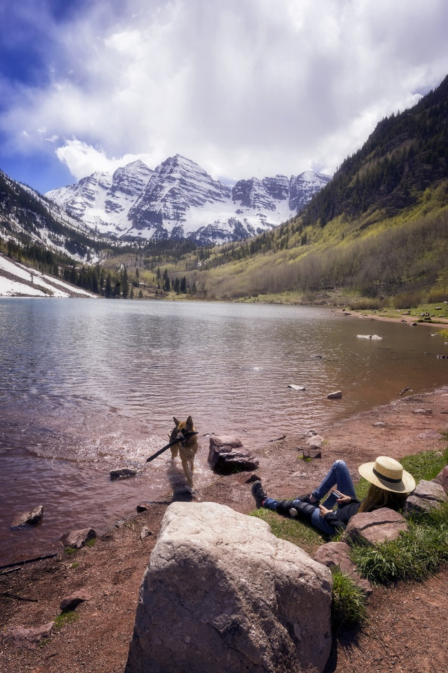 Maroon Bells, aspen, colorado, co, relaxing, emotion, feelings, snow capped, mountains, lake, maroon, lady, girl, dog, german shepherd, outdoors, photography, photo, co, elk mountains, maroon peak, north maroon peak, gunnison and ptkin county,