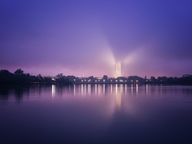 fog, washington monument, tidal basin, washington dc, sunrise, early morning, cloud, lights, purple, dancing, angel, visit, summer, travel