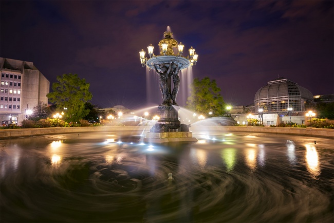 Bartholdi Park, Bartholdi fountain, washington dc, night, long exposure, botanical garden, Fréderic Auguste Bartholdi, architecture, designer, fountain, water, southwest, dc, washington dc, independence ave,