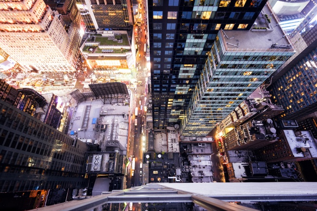 times square, new york city, manhattan, lights, rooftop, hyatt centric, looking down, buildings, architecture, windows, spying, details, cars, congestion, taxi, fans, east coast,