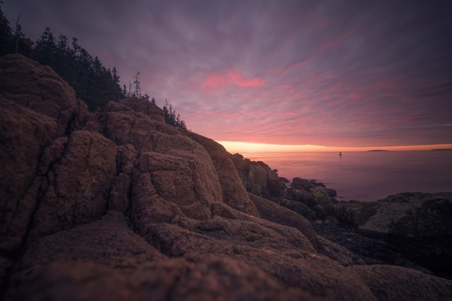 Bass Harbor Head Light, acadia national park, maine, east coast, sunrise, neutral density filter, long exposure, climb, tripod, sony, a7ii, southwest, blue hill bay, mount desert island, boui, rocks,