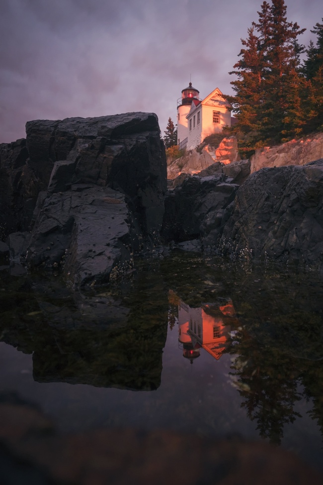 Bass Harbor Head Light, acadia national park, maine, east coast, sunrise, neutral density filter, long exposure, climb, tripod, sony, a7ii, southwest, blue hill bay, mount desert island,