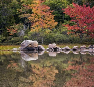 Echo Lake Beach, acadia national park, maine, reflection, fall, colors, trees, rocks, southwest harbor, east coast, mount desert island, cannon mountain, canada cliffs, somesville, beach,