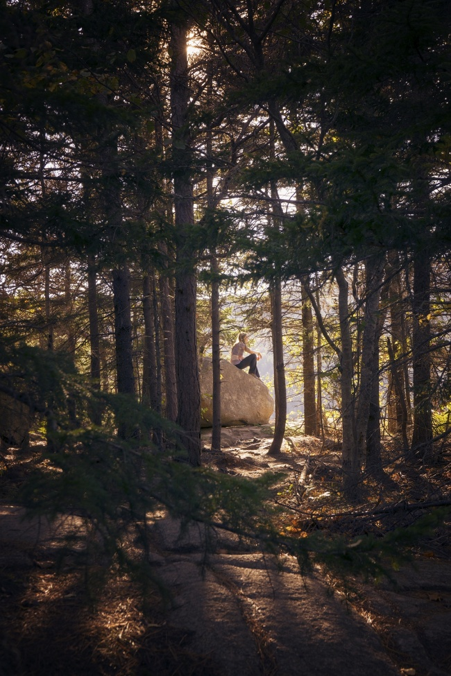 bubble rock, hike, acadia national park, maine, hike, mount desert island, east coast, bar harbor, schedule, to do, visit, travel, trail, girl, frame, apple, park loop, south bubble mountain, fall, autumn