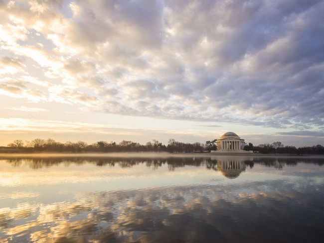 2018 Calendar, washington dc, tidal basin, jefferson memorial, early morning, sunrise, clouds, sky, reflection, fog, calendar, 2018, wall calendar, buy,