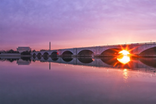 high school, teaching, learning, photography, classes, photo, speech, talk, washington dc, arlington memorial bridge, sunrise, burst, virginia, reflection