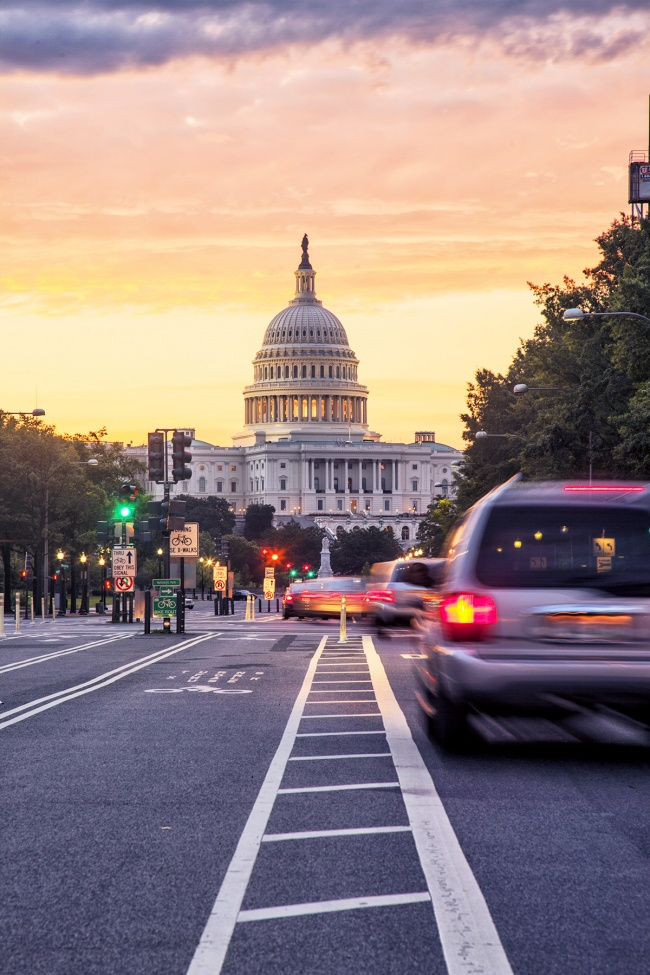 Pennsylvania Avenue, long exposure, pennsylvania ave, us capitol, sunrise, early morning, traffic, long exposure, car trails, washington dc, prints, for sale, black friday, capitol building, united states congress