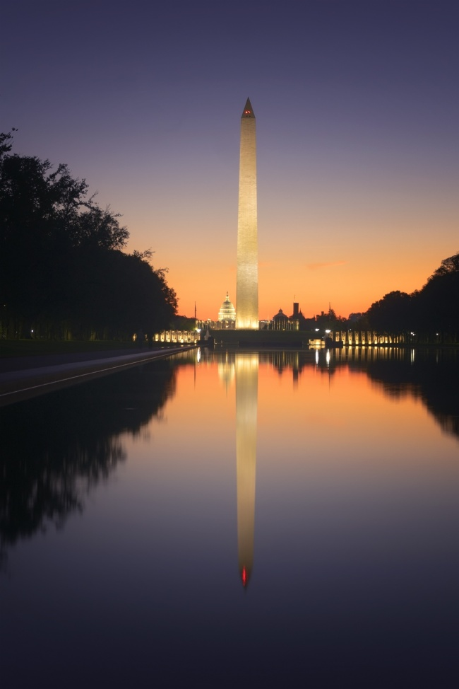 Lincoln Memorial Reflecting Pool, Sunrise, washington monument, us capitol, wwii memorial, washington dc, national mall, reflection, views, must see, early morning, orange, monuments, national mall