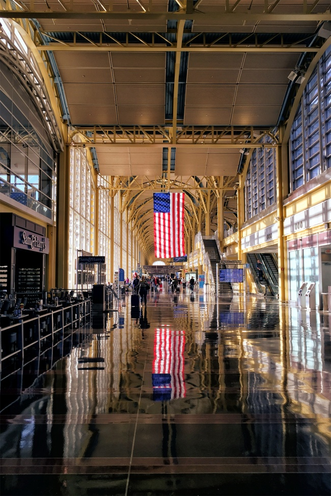 American Flag, reagan national airport, reflection, interior, early morning, light, dca, washington dc, travel, flight, security line, architecture, dslr, iphone, photography,
