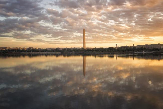 Washington Monument, Washington DC, sunrise, tidal basin, national mall, clouds, cool, warm, obelisk, George Washington, reflection, 2018 calendar