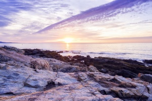 otter cliff, ocean path, acadia national park, maine, east coast, sunrise, early morning, park loop road, bar harbor, purple, national park, mount desert island