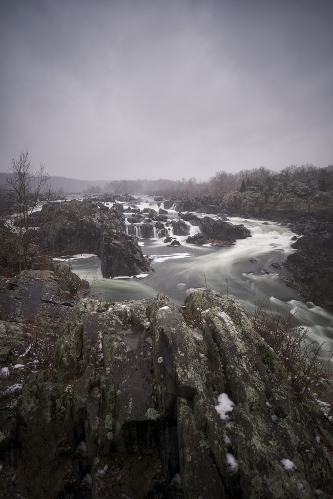 snow, winter, weather, grey skies, cloudy, great falls, park, virginia, high school, langley, mather gorge, potomac water, waterfall, rocks, landscape