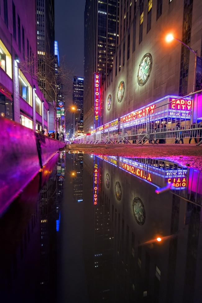 radio city music hall, new york, midtown, manhattan, entertainment, shows, reflection, puddle, visit, travel, food, tourist, rockefeller center, manhattan